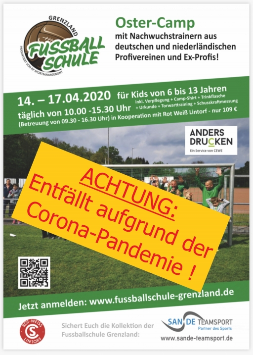 Fussball-Oster-Camp in Ratingen-Lintorf vom 14.04. - 17.04.2020